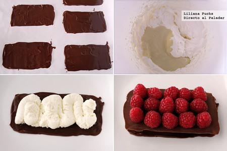 Milhojas de chocolates con frambuesas. Pasos de la receta