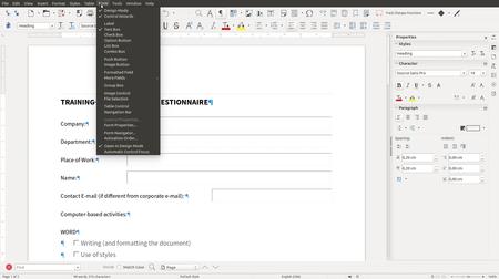 Libreoffice 6 0 Writer Form Menu