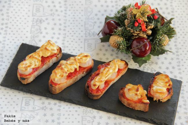 Canap s gratinados receta de aperitivo de navidad for Que es un canape