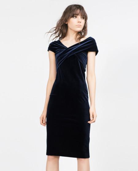 Zara Vestido Velvet Azul