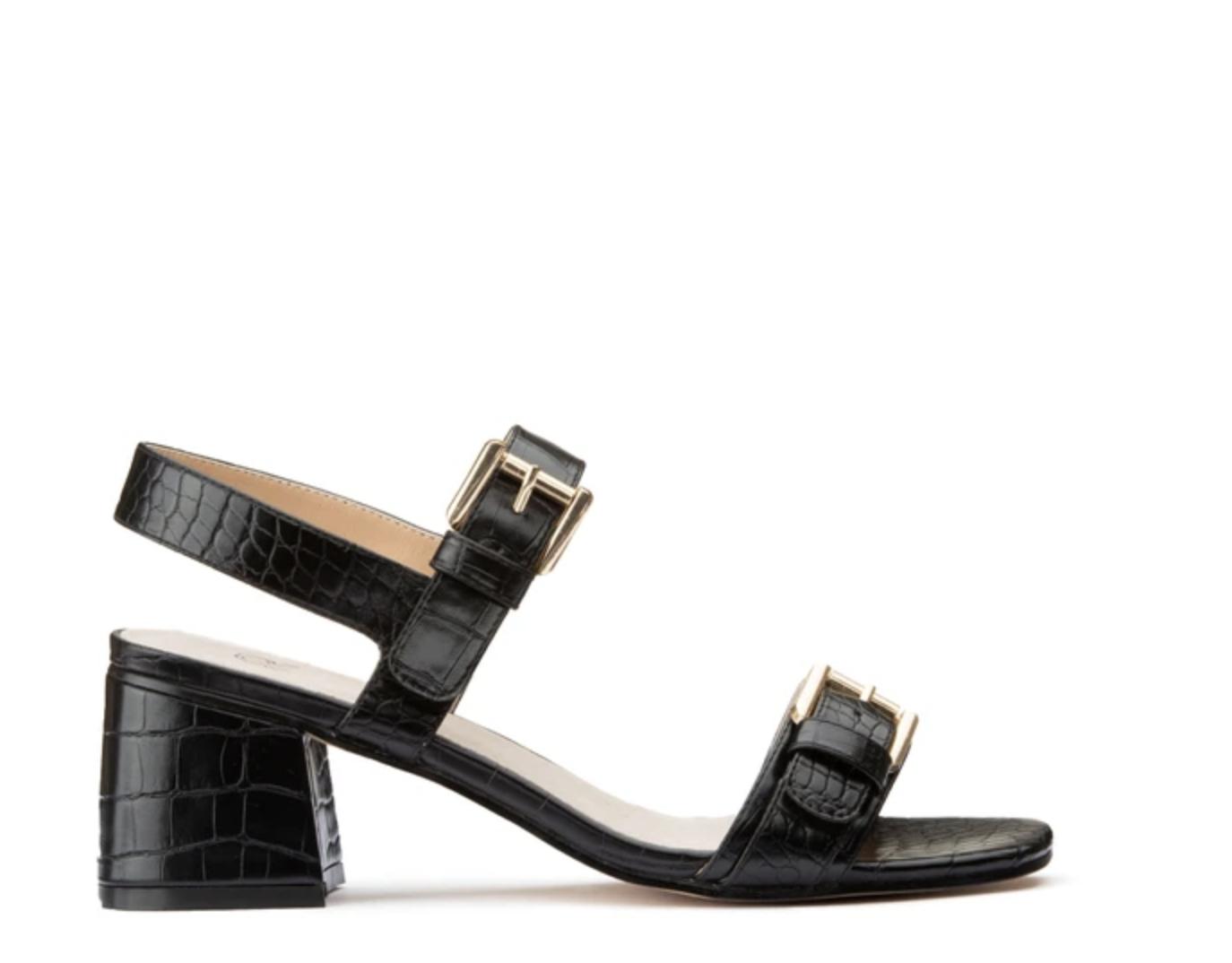 Sandalias con efecto cocodrilo y correas, con tacón ancho