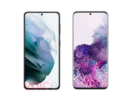 El Samsung Galaxy S21 5G filtrado a la izquierda, el Galaxy S20 5G real a la derecha