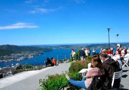 Vistas de Bergen desde la colina Floyen