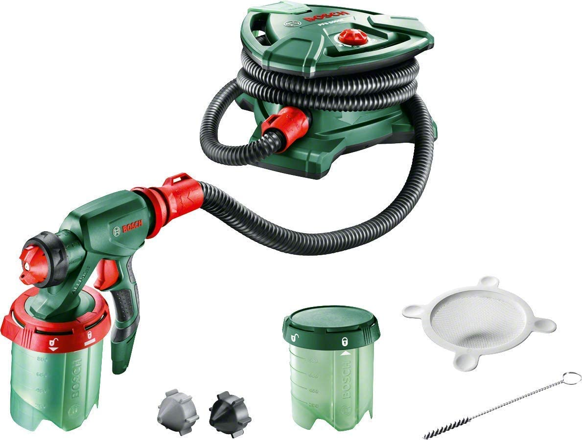 Bosch PFS 5000 E - Paint spraying system (1200 W, 2 tanks for 1000 ml paint, nozzle for wall painting, varnish, enamel, cleaning brush)