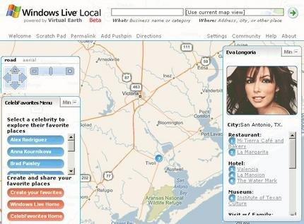 Windows Live Local Celebrities, para saber dónde van los famosos