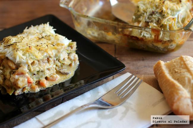 Lasaña verde de pollo al curry, receta original de pasta