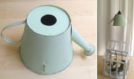 Recicladecoración: una lámpara hecha con una regadera