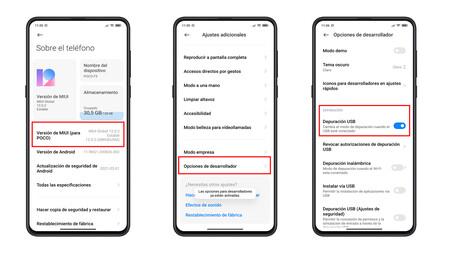Opciones Desarrollo Xiaomi