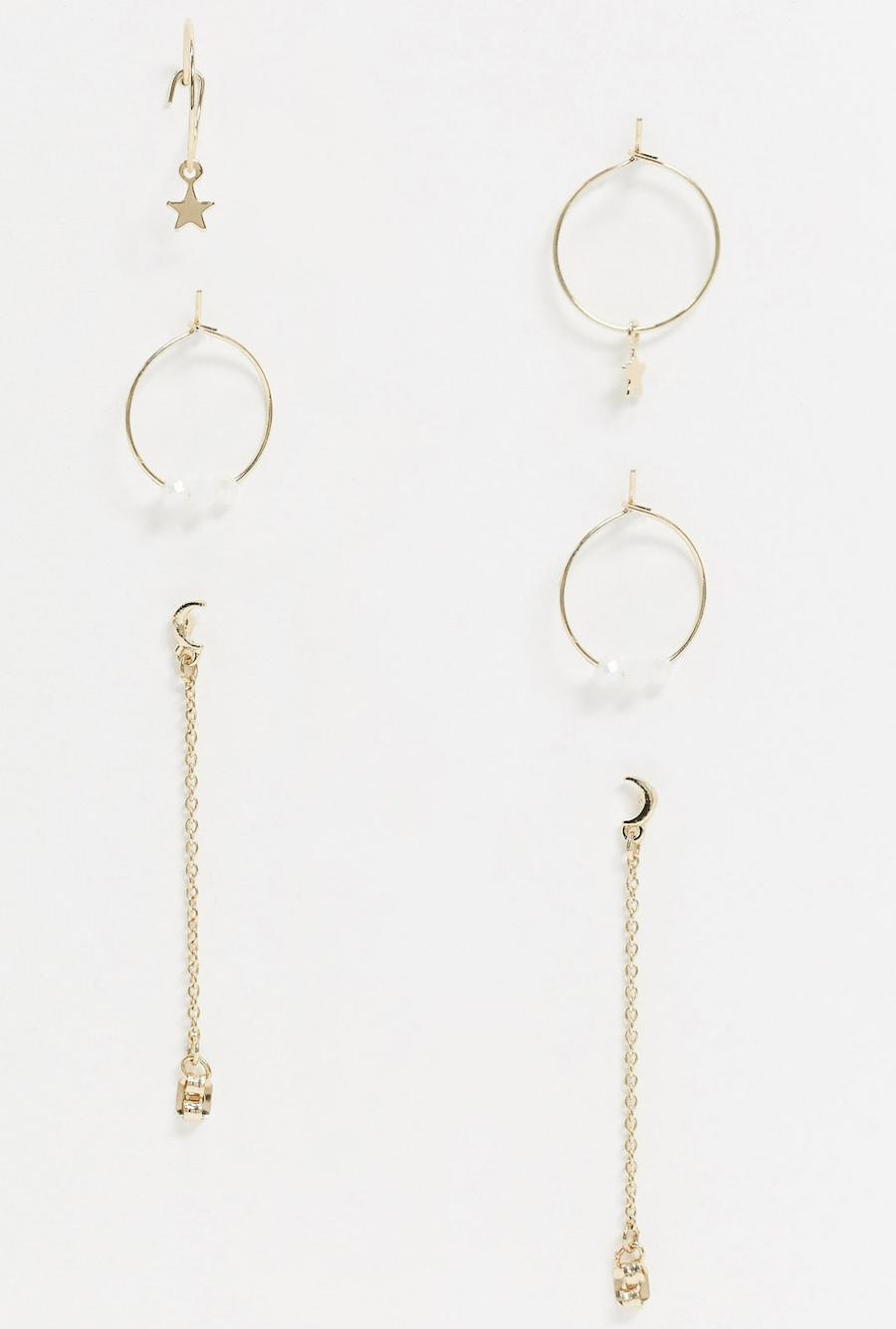 Multi-pack de 3 pendientes con diseño de aros y estrellas combinados en dorado de Liars & Lovers