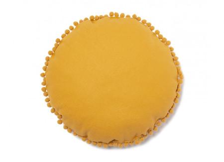Sunny Round Cushion Farniente Yellow Cojin Amarillo Sol Coussin Soleil Jaune Nobodinoz
