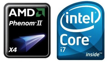 AMD Phenom II e Intel Core i7 logos