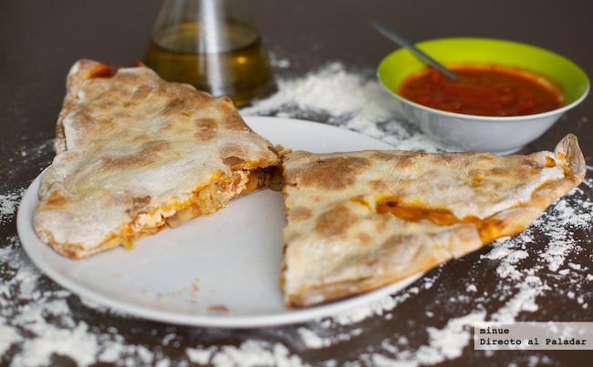 Pizza calzone vegetariana - presentación