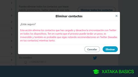 Cómo ver si Twitter almacena tus contactos y cómo borrarlos