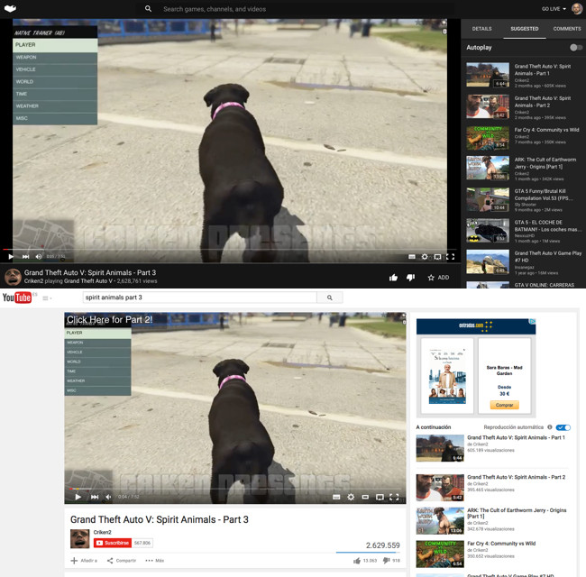 Youtube Gaming Diferencias