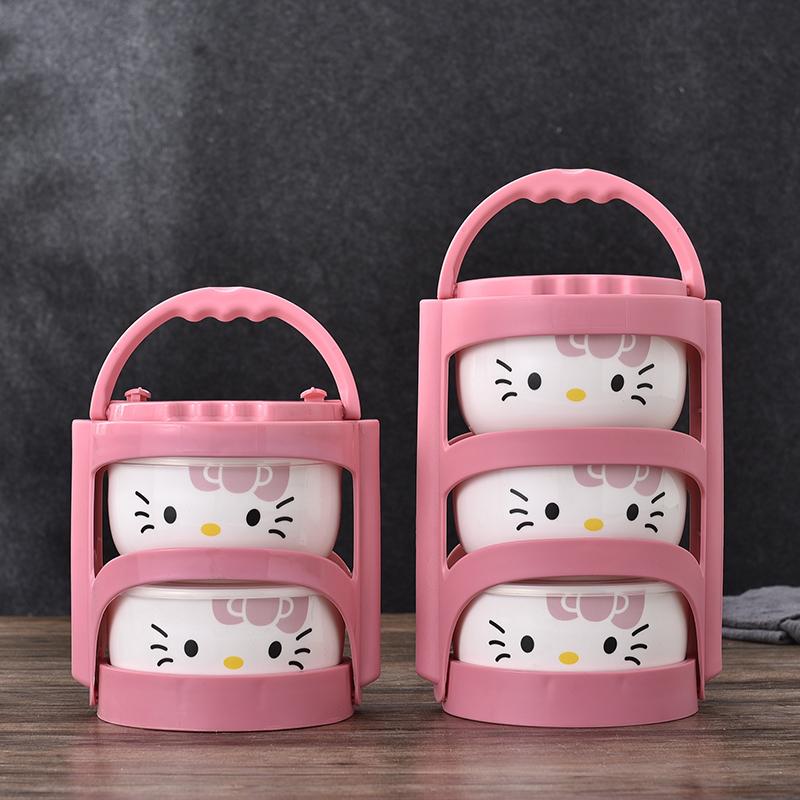 Set de tres tuppers de cerámica con portador de Hello Kitty