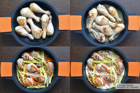 Fricasé de pollo al vermut