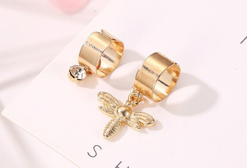 Yobest novedad accesorios de moda borla estética hojas pendientes pendiente hembra Clip oreja anillo una pieza pendiente
