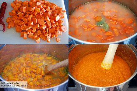 Crema fría de zanahoria. Pasos