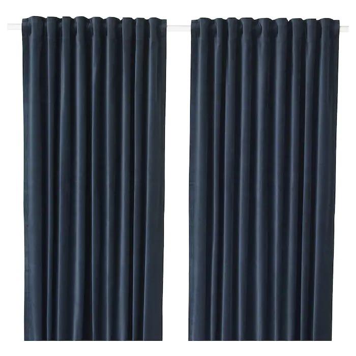 SANELA Cortinas, par, azul oscuro140x300 cm