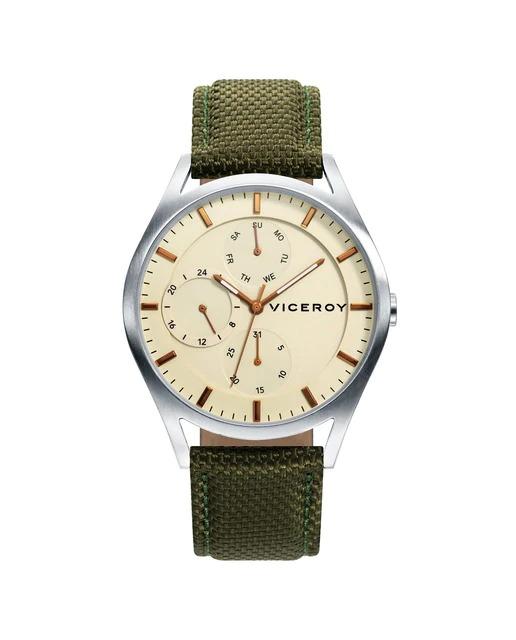 Reloj de hombre Viceroy Beat multifunción de acero, con la esfera y los contadores en marrón claro, los indicadores y agujas en marrón con correa de nylon verde.