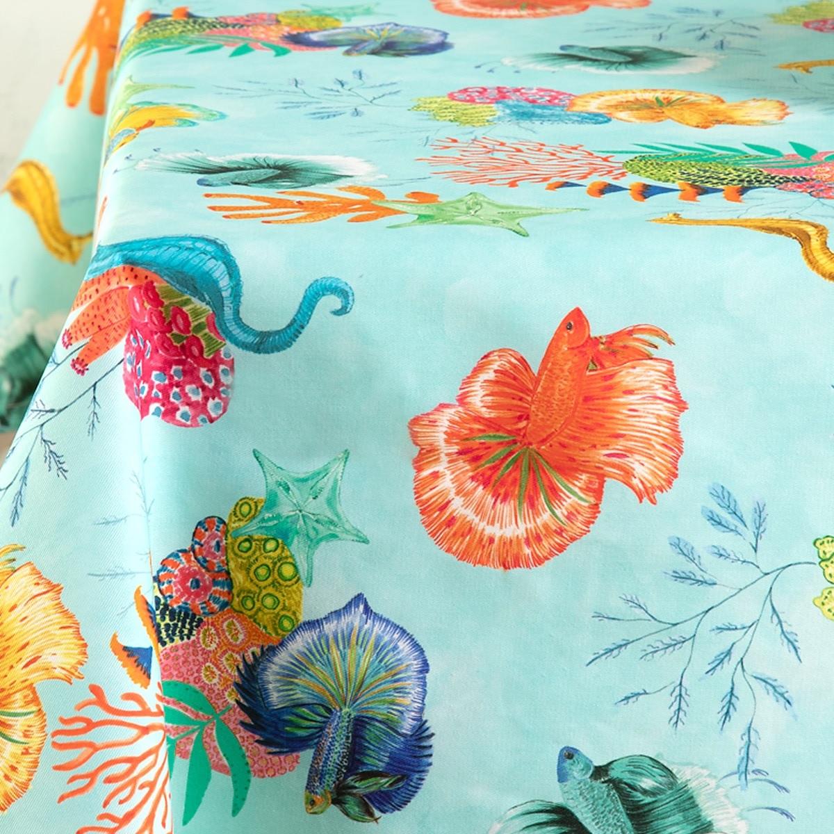 Mantel con estampado coral