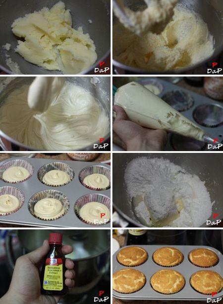 Cómo hacer unos cupcakes de vainilla y frosting de coco