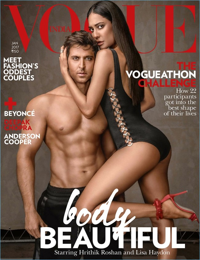 Vogue India 2017 Cover Hrithik Roshan Lisa Haydon