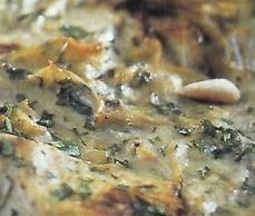 Tarta de perejil y alcachofas