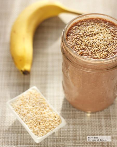 Licuado de chocolate, plátano y amaranto. Receta