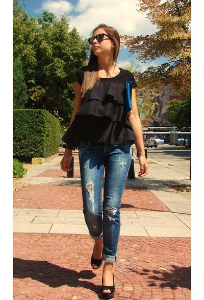 jeans streestyle top negro