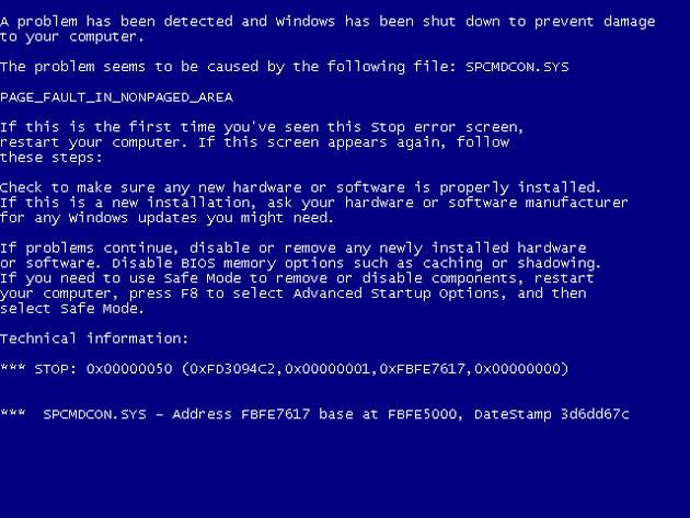Pantalla Azul De La Muerte Windows Xp