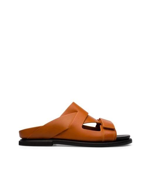 Sandalias destalonadas de hombre Camper en marrón de piel