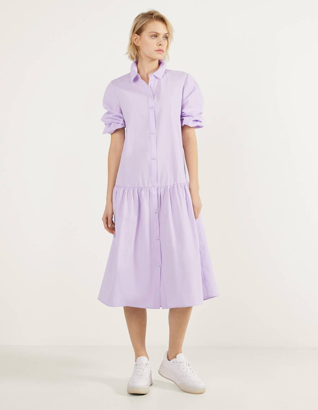 Vestido largo de popelín
