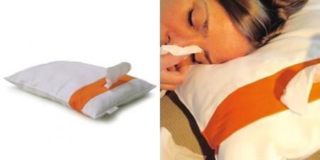 Almohada con dispensador de pañuelos de papel