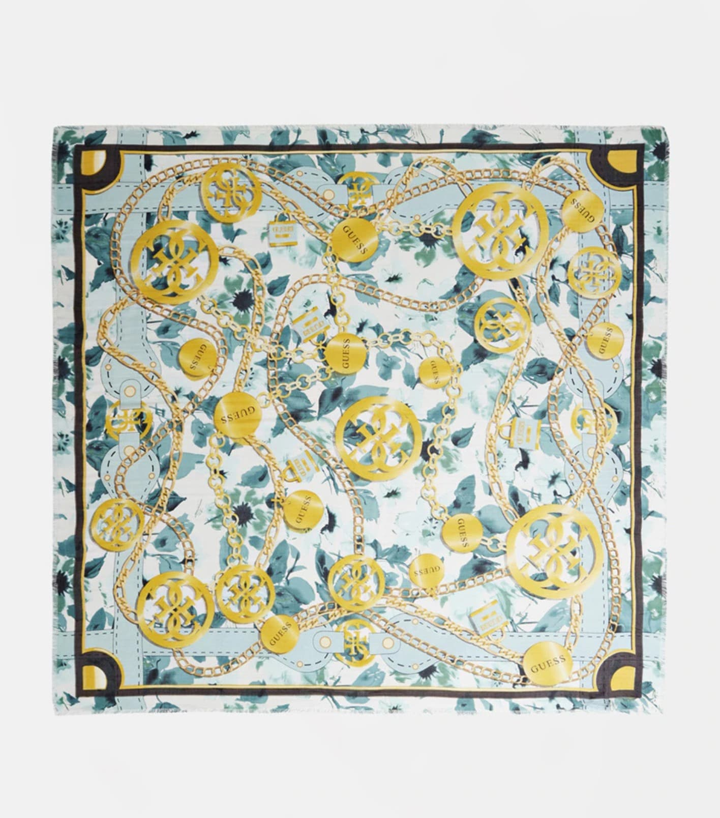 Pañuelo Guess bicolor en verde agua y dorado con print combinado