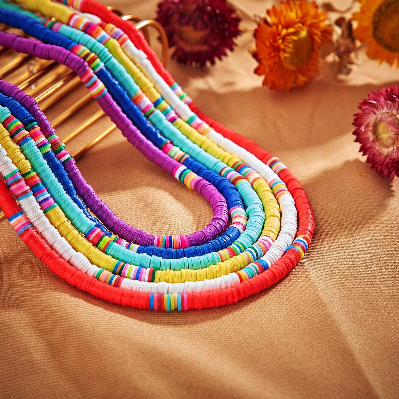 Pack de seis collares de cuentas de colores en Amazon