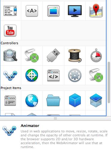 Paleta de controles en Xojo Web Edition