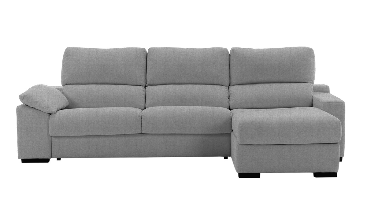 Upholstered 5-seater sofa bed with right chaise longue and Frank chest