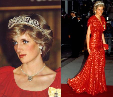 Diana de Gales de rojo