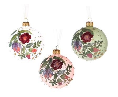 Bolas de Navidad con flores