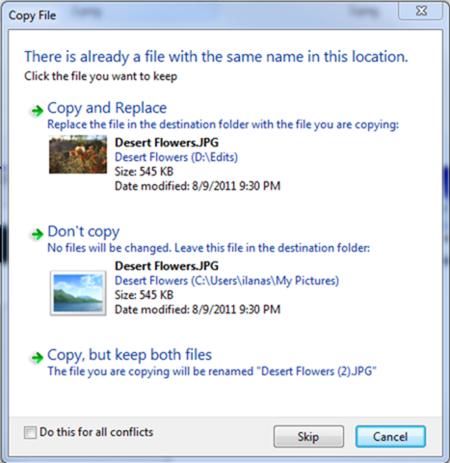 Sistema para copiar archivos con el mismo nombre en Windows 7