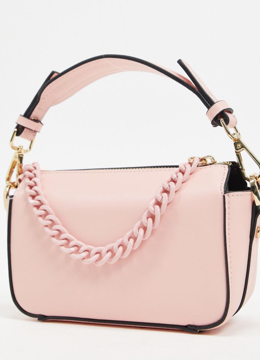 Bolso pequeño rosa con cadena cuadrada de Topshop