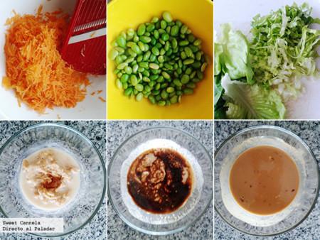 Preparación ensalada oriental