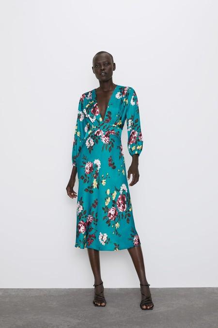 Zara Vestido Midi Estampado Floral 2