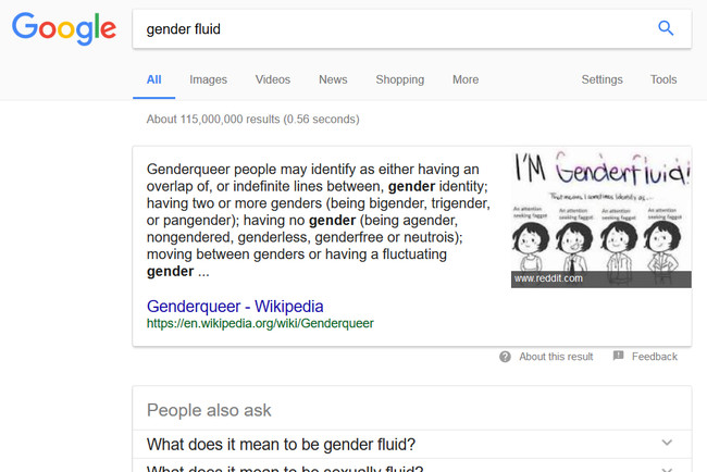Busqueda Gender Fluid Google