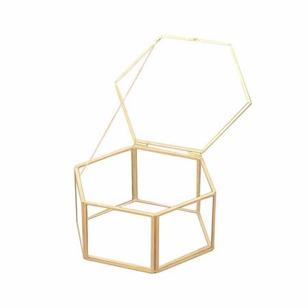 TENDYCOCO Caja de Almacenamiento de joyería Organizador Hexágono Anillo geométrico Caja Único Favor de la Boda Decoraciones del Partido Titular de Regalo de Cristal