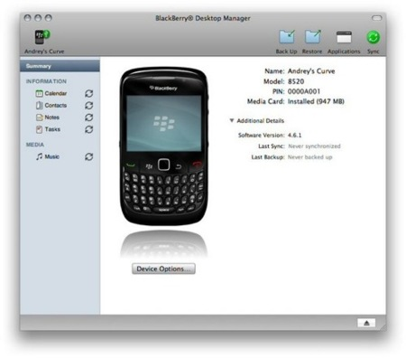 BlackBerry Desktop Manager para Mac OS X disponible mañana
