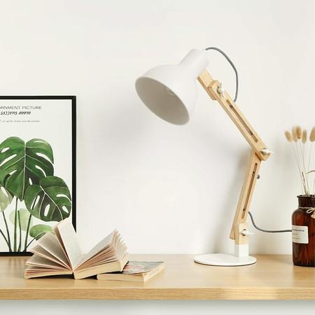 Lámpara de Escritorio,Columpio del Brazo,lámpara de Mesa Ajustable y Desmontable de Madera para Oficina, Sala, Estudio y Dormitorio, Blanco - Tomons