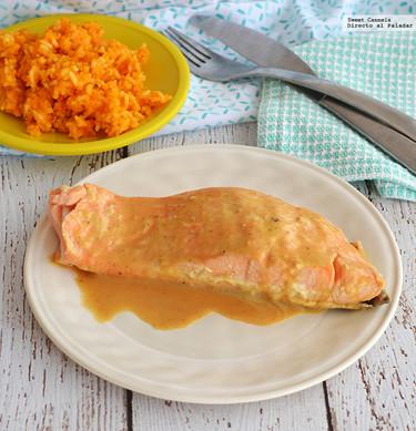 Salmón en salsa de miel y mostaza. Receta sencilla y rápida