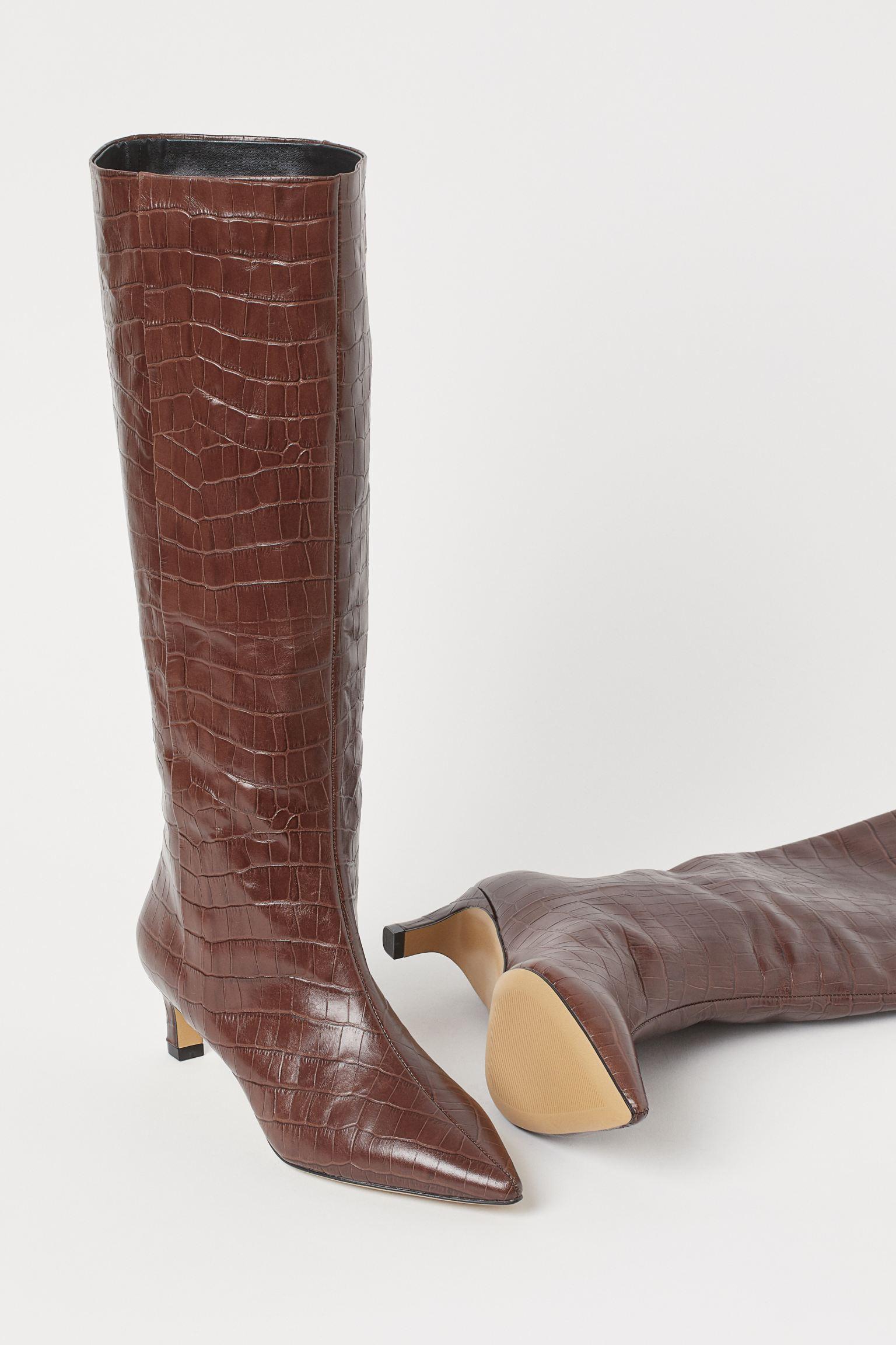 Botas altas de piel con efecto cocodrilo